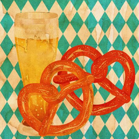 Delicious pretzel with glass of beer cartoon food design, grunge paper textured. Stock Photo