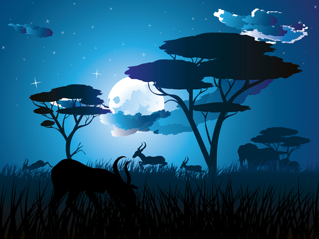 Colorful night scene, african landscape with silhouette of trees and antelopes. Фото со стока - 85204923