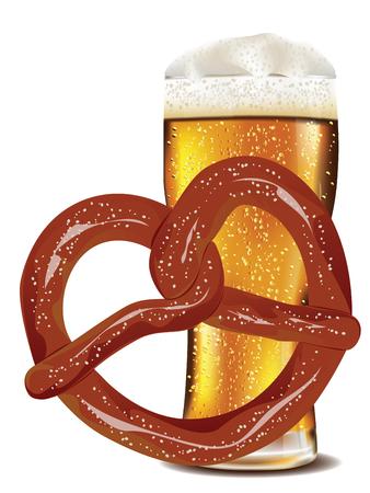 pretzel: Delicious pretzel with glass of beer cartoon food design. Illustration