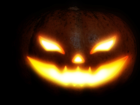 Big pumpkin with scary face for Halloween, photo manipulation. Stock Photo