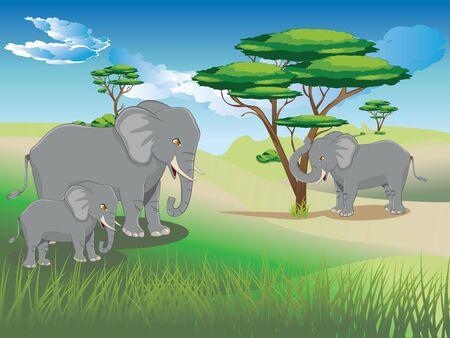 大きな灰色の象のイラストを持つ漫画の緑の風景。