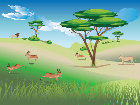 Cartoon sunny landscape with herd of antelopes. Illustration