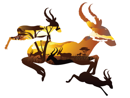 African landscape with silhouette of trees and antelopes. Illustration