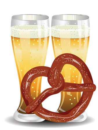 Delicious pretzel with glass of beer cartoon food design Illustration