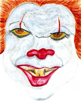 Spooky Halloween clown face make up in watercolor.