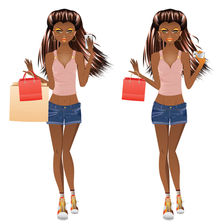 African american girl with shopping bags and cell phone Illustration
