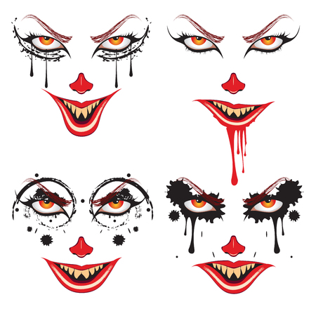 Cartoon face with creepy make up for Halloween Illustration