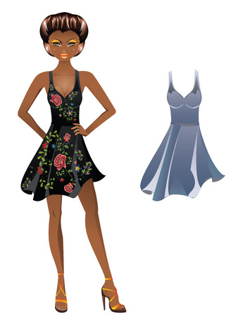 Fashion cartoon girl in a dress with floral embroidery Illustration