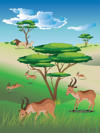 Cartoon sunny landscape with herd of antelopes