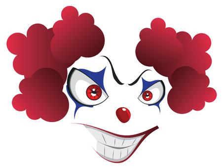 Cartoon creepy evil clown face for Halloween.