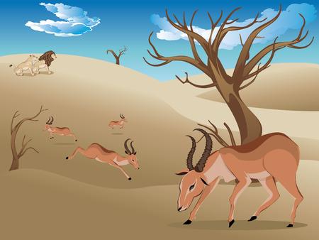 Cartoon sunny landscape with herd of antelopes. Çizim