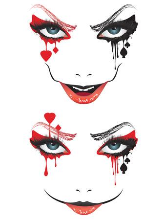 Cartoon face with creepy make up for Halloween. Stock Vector - 89267202