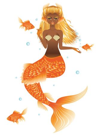 Fantasy mermaid with dark skin, orange tail and long blonde hair.