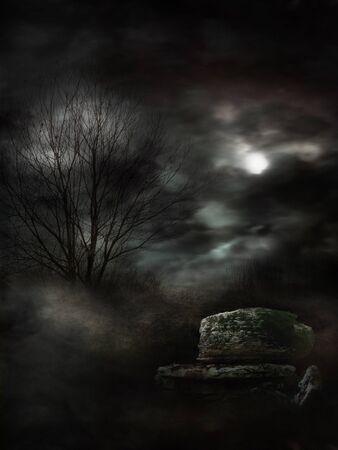 暗い影に満ちた神秘的な霧の風景。