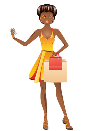 Fashion african american girl with shopping bags and cell phone.