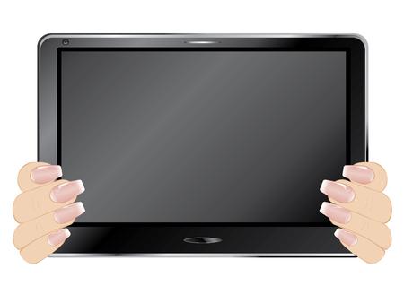 Human hands holds black digital tablet pad.