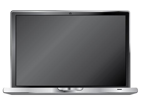 Notebook or laptop in black color illustration on white background. Illustration