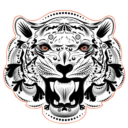 Stylized ornamental portrait of a roaring tiger with floral.