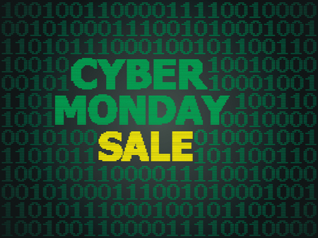 Sale technology background for cyber monday with computer code. Illustration