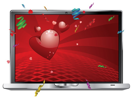 Lovely Valentines day greetings with red heart on digital display. Illustration