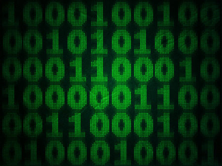 Abstract binary computer code, grunge numeral background.