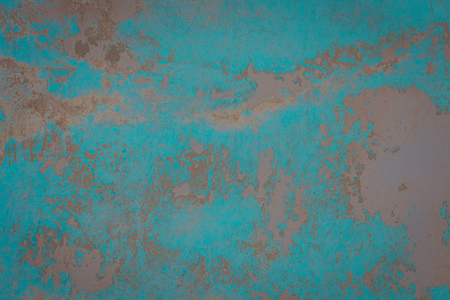 Grunge dirty wall close up, colorful cracked plaster filtered background. Stock Photo