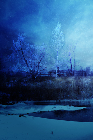 Snowy winter rural landscape, photo manipulation, illustration.