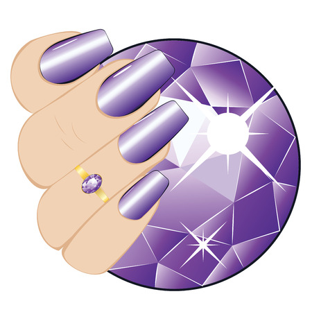 Golden ring with purple amethyst on a human hand with violet nails.