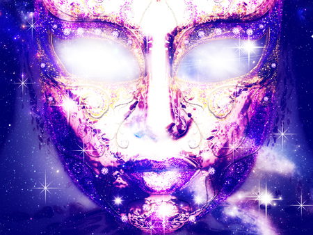Abstract mystic decorative face mask with glowing eyes and starry background.