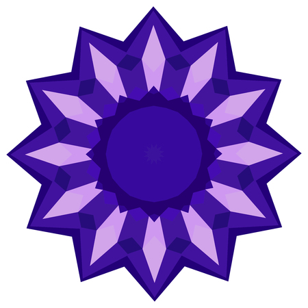 Abstract colorful round background made of purple polygons.