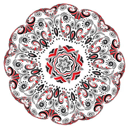 Decorative round ornament made of black and red floral elements.