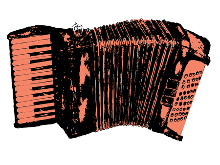 Illustration of an accordion vintage music instrument, grunge background.