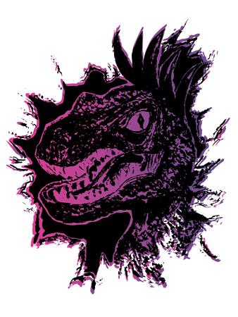 Grunge portrait of the velociraptor, illustration of the dinosaur.