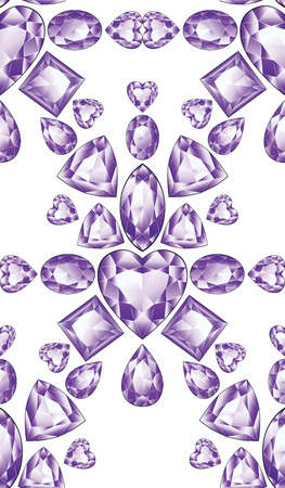 Precious violet gemstones, purple amethyst jewel stones on white background.