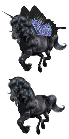 Digital 3d illustration of a black unicorn with blue butterfly wings. Фото со стока