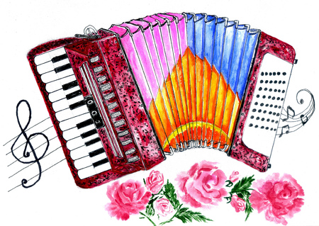 Illustration of an accordion vintage music instrument, hand drawn watercolor art, grunge background.