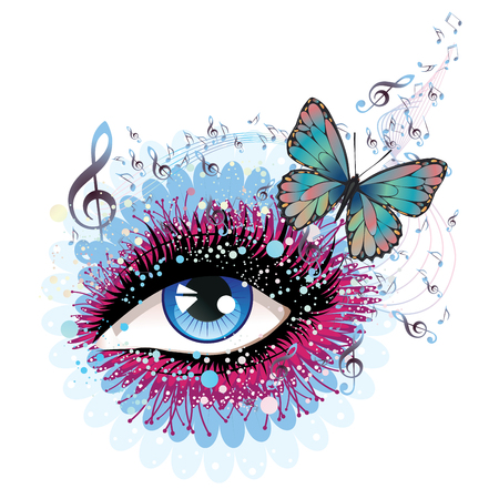Decorative eye with long eyelashes, flowers, musical notes and butterflies. Vectores