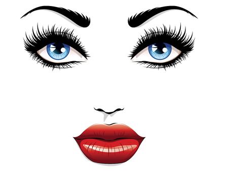 Ojos con pestañas largas y labios rojos, retrato de glamour.