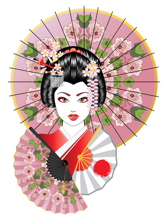 Portrait of geisha with oriental fan and decorative umbrella illustration.