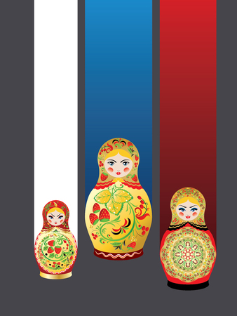 Poster with traditional Russian souvenir matryoshka dolls decorated with folk ornaments. Stock Illustratie