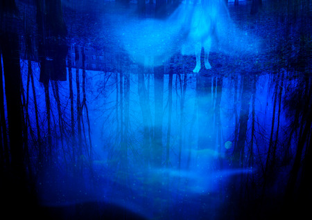 Birch trees and ghost reflected in the water and glowing stars, surreal fantasy background. Reklamní fotografie