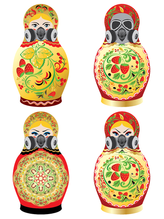 Traditional Russian souvenir matryoshka dolls decorated with folk ornaments in respirator or gas mask.