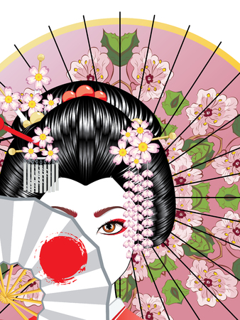 Oriental girl with traditional geisha hairstyle, makeup and decorative fan. Illusztráció