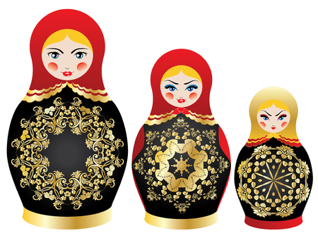 Traditional Russian souvenir matryoshka dolls decorated with folk ornaments. Illustration