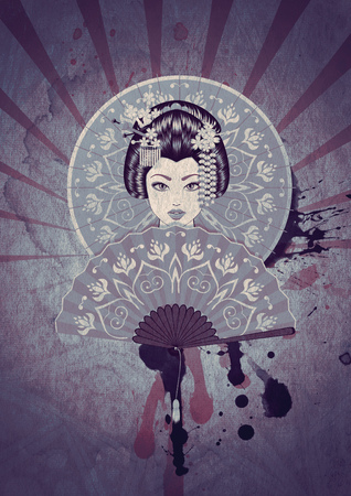 Vintage poster with the cartoon geisha, grunge paper textured background