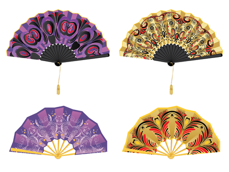 Collection of decorative oriental folding paper fans on white. Illusztráció