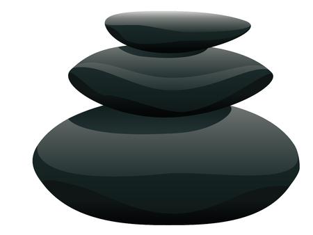 Black pebbles pile, zen stones heap on white background. 일러스트