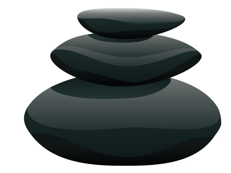 Black pebbles pile, zen stones heap on white background. Illustration