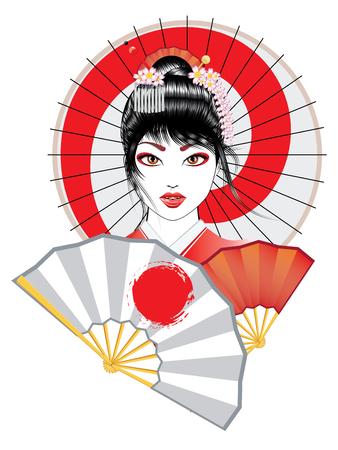 Portrait of geisha with oriental fan and decorative umbrella illustration.