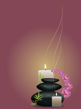 Black zen stones in a pile with orchid flowers.